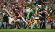 19 August 2018; Darragh O'Donovan of Limerick wins possession from the throw in, alongside team mate Cian Lynch, and Galway players, Johnny Coen, left, and David Burke during the GAA Hurling All-Ireland Senior Championship Final match between Galway and Limerick at Croke Park in Dublin. Photo by Piaras Ó Mídheach/Sportsfile