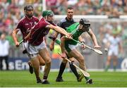 19 August 2018; Declan Hannon of Limerick in action against Cathal Mannion of Galway during the GAA Hurling All-Ireland Senior Championship Final match between Galway and Limerick at Croke Park in Dublin.  Photo by Brendan Moran/Sportsfile