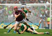 19 August 2018; Jonathan Glynn of Galway in action against Mike Casey and Dan Morrissey of Limerick during the GAA Hurling All-Ireland Senior Championship Final match between Galway and Limerick at Croke Park in Dublin. Photo by Piaras Ó Mídheach/Sportsfile