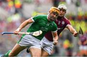 19 August 2018; Séamus Flanagan of Limerick in action against Daithí Burke of Galway during the GAA Hurling All-Ireland Senior Championship Final match between Galway and Limerick at Croke Park in Dublin.  Photo by Brendan Moran/Sportsfile