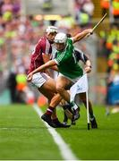 19 August 2018; Kyle Hayes of Limerick in action against Gearóid McInerney of Galway during the GAA Hurling All-Ireland Senior Championship Final match between Galway and Limerick at Croke Park in Dublin. Photo by Eóin Noonan/Sportsfile