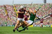 19 August 2018; Séamus Flanagan of Limerick is fouled by Gearóid McInerney of Galway during the GAA Hurling All-Ireland Senior Championship Final match between Galway and Limerick at Croke Park in Dublin.  Photo by Ramsey Cardy/Sportsfile