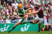 19 August 2018; Séamus Flanagan of Limerick is tackled by Daithí Burke of Galway during the GAA Hurling All-Ireland Senior Championship Final match between Galway and Limerick at Croke Park in Dublin.  Photo by Ramsey Cardy/Sportsfile