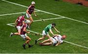 19 August 2018; Graeme Mulcahy of Limerick on his way to scoring his side's first goal past James Skehill of Galway during the GAA Hurling All-Ireland Senior Championship Final match between Galway and Limerick at Croke Park in Dublin. Photo by Daire Brennan/Sportsfile