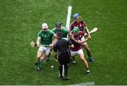 19 August 2018; Referee James Owens throws in the ball between Cian Lynch, left, and Darragh O'Donovan of Limerick and David Burke, left, and Johnny Coen of Galway to start the GAA Hurling All-Ireland Senior Championship Final match between Galway and Limerick at Croke Park in Dublin. Photo by Daire Brennan/Sportsfile
