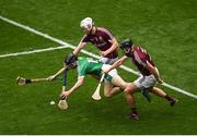 19 August 2018; Graeme Mulcahy of Limerick in action against John Hanbury, left, and Aidan Harte of Galway during the GAA Hurling All-Ireland Senior Championship Final match between Galway and Limerick at Croke Park in Dublin. Photo by Daire Brennan/Sportsfile