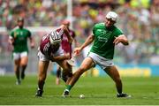 19 August 2018; Aaron Gillane of Limerick in action against Aidan Harte of Galway during the GAA Hurling All-Ireland Senior Championship Final match between Galway and Limerick at Croke Park in Dublin. Photo by Eóin Noonan/Sportsfile