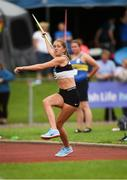 19 August 2018; Lara O'Byrne, Donore Harriers A.C. competing in the Womens Javelin 600g event during the AAI National League Final at Tullamore Harriers Stadium in Offaly. Photo by Barry Cregg/Sportsfile