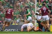 19 August 2018; Graeme Mulcahy of Limerick, centre, on his way to scoring his side's first goal, despite the efforts of Galway players, from left, Adrian Tuohy, James Skehill, and Aidan Harte during the GAA Hurling All-Ireland Senior Championship Final match between Galway and Limerick at Croke Park in Dublin.  Photo by Piaras Ó Mídheach/Sportsfile