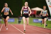19 August 2018; Sinead Treacy, Galway County, leads Niamh Gowing, Dundrum South DublinA.C., during the Premier WOmens 200m event during the AAI National League Final at Tullamore Harriers Stadium in Offaly. Photo by Barry Cregg/Sportsfile