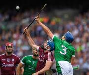 19 August 2018; Conor Cooney of Galway in action against Mike Casey of Limerick during the GAA Hurling All-Ireland Senior Championship Final match between Galway and Limerick at Croke Park in Dublin. Photo by Ray McManus/Sportsfile