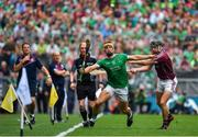 19 August 2018; Tom Morrissey of Limerick in action against Aidan Harte of Galway during the GAA Hurling All-Ireland Senior Championship Final match between Galway and Limerick at Croke Park in Dublin.  Photo by Brendan Moran/Sportsfile