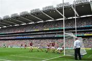 19 August 2018; Graeme Mulcahy of Limerick scores his side's first goal during the GAA Hurling All-Ireland Senior Championship Final match between Galway and Limerick at Croke Park in Dublin. Photo by Brendan Moran/Sportsfile