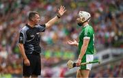 19 August 2018; Cian Lynch of Limerick appeals a decision by referee James Owens during the GAA Hurling All-Ireland Senior Championship Final match between Galway and Limerick at Croke Park in Dublin.  Photo by Ray McManus/Sportsfile