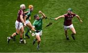 19 August 2018; Darragh O'Donovan of Limerick in action against Cathal Mannion of Galway during the GAA Hurling All-Ireland Senior Championship Final match between Galway and Limerick at Croke Park in Dublin. Photo by Daire Brennan/Sportsfile