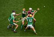 19 August 2018; Gearóid McInerney of Galway in action against Limerick players, left to right, Darragh O'Donovan, Kyle Hayes, Séamus Flanagan, Tom Morrissey, and Gearóid Hegarty, during the GAA Hurling All-Ireland Senior Championship Final match between Galway and Limerick at Croke Park in Dublin. Photo by Daire Brennan/Sportsfile