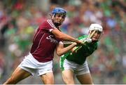 19 August 2018; Johnny Coen of Galway is hooked by Kyle Hayes of Limerick during the GAA Hurling All-Ireland Senior Championship Final match between Galway and Limerick at Croke Park in Dublin.  Photo by Ramsey Cardy/Sportsfile