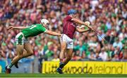 19 August 2018; Johnny Coen of Galway is hooked by Kyle Hayes of Limerick during the GAA Hurling All-Ireland Senior Championship Final match between Galway and Limerick at Croke Park in Dublin.  Photo by Brendan Moran/Sportsfile