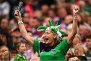 19 August 2018; A Limerick supporter celebrates a point during the GAA Hurling All-Ireland Senior Championship Final match between Galway and Limerick at Croke Park in Dublin. Photo by Stephen McCarthy/Sportsfile