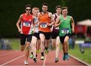 19 August 2018; Tom Hennessy, centre, Nenagh Olympic A.C., Co. Tipperary, leads Sean Terek, left, City of Lisburn A.C., Antrim, and Cathal Fitzgibbon, Kerry County during the Divison 1 Mens 800m event during the AAI National League Final at Tullamore Harriers Stadium in Offaly. Photo by Barry Cregg/Sportsfile