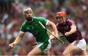 19 August 2018; Cian Lynch of Limerick in action against Conor Whelan of Galway during the GAA Hurling All-Ireland Senior Championship Final match between Galway and Limerick at Croke Park in Dublin. Photo by Piaras Ó Mídheach/Sportsfile
