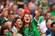 19 August 2018; Limerick supporters celebrates after their side scores their second goal during the GAA Hurling All-Ireland Senior Championship Final match between Galway and Limerick at Croke Park in Dublin. Photo by Eóin Noonan/Sportsfile