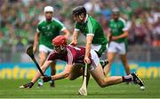 19 August 2018; Jonathan Glynn of Galway in action against Diarmaid Byrnes of Limerick during the GAA Hurling All-Ireland Senior Championship Final match between Galway and Limerick at Croke Park in Dublin.  Photo by Ramsey Cardy/Sportsfile