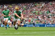 19 August 2018; Tom Morrissey of Limerick shoots to score his side's second goal during the GAA Hurling All-Ireland Senior Championship Final match between Galway and Limerick at Croke Park in Dublin. Photo by Seb Daly/Sportsfile