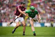 19 August 2018; Shane Dowling of Limerick in action against Pádraic Mannion of Galway during the GAA Hurling All-Ireland Senior Championship Final match between Galway and Limerick at Croke Park in Dublin. Photo by Stephen McCarthy/Sportsfile