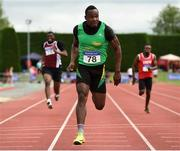 19 August 2018; Travane Morrison, Kerry County, crosses the line to win the Divison 1 Mens 100m event during the AAI National League Final at Tullamore Harriers Stadium in Offaly. Photo by Barry Cregg/Sportsfile