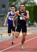 19 August 2018; Leo Morgan, Clonliffe Harriers A.C., Dublin, comes to the line ahead of Danny Browne, left, Finn Valley A.C.to win the Premier Mens 100m event during the AAI National League Final at Tullamore Harriers Stadium in Offaly. Photo by Barry Cregg/Sportsfile