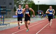 19 August 2018; Leo Morgan, Clonliffe Harriers A.C, Dublin, comes to the line ahead of Danny Browne, left, Finn Valley A.C.and Patrick Lynch, Tipperary County, to win the Premier Mens 100m event during the AAI National League Final at Tullamore Harriers Stadium in Offaly. Photo by Barry Cregg/Sportsfile