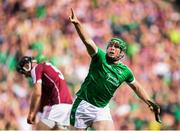 19 August 2018; Shane Dowling of Limerick celebrates after scoring his side's third goal during the GAA Hurling All-Ireland Senior Championship Final match between Galway and Limerick at Croke Park in Dublin. Photo by Stephen McCarthy/Sportsfile