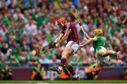 19 August 2018; Conor Whelan of Galway shoots to score his side's first goal despite the efforts of Richie English of Limerick during the GAA Hurling All-Ireland Senior Championship Final match between Galway and Limerick at Croke Park in Dublin. Photo by Eóin Noonan/Sportsfile
