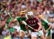 19 August 2018; Gearóid McInerney of Galway in action against Tom Morrissey of Limerick during the GAA Hurling All-Ireland Senior Championship Final match between Galway and Limerick at Croke Park in Dublin. Photo by Seb Daly/Sportsfile