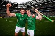 19 August 2018; Gearóid Hegarty, left, and Cian Lynch of Limerick celebrate following the GAA Hurling All-Ireland Senior Championship Final match between Galway and Limerick at Croke Park in Dublin. Photo by Stephen McCarthy/Sportsfile