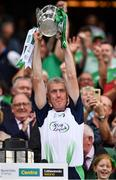 19 August 2018; Limerick manager John Kiely lifts the Liam MacCarthy Cup following the GAA Hurling All-Ireland Senior Championship Final match between Galway and Limerick at Croke Park in Dublin. Photo by Seb Daly/Sportsfile