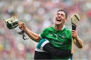 19 August 2018; Seán Finn of Limerick celebrates after the final whistle following the GAA Hurling All-Ireland Senior Championship Final match between Galway and Limerick at Croke Park in Dublin. Photo by Brendan Moran/Sportsfile
