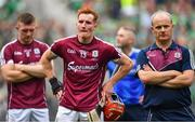 19 August 2018; A dejected Galway manager Micheál Donoghue, right, Conor Whelan and Joe Canning of Galway, left, following the GAA Hurling All-Ireland Senior Championship Final match between Galway and Limerick at Croke Park in Dublin. Photo by Brendan Moran/Sportsfile