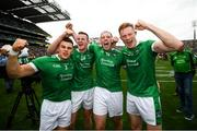 19 August 2018; Limerick players, from left, Mike Casey, David Dempsey, Shane Dowling and William O'Donoghue celebrate following the GAA Hurling All-Ireland Senior Championship Final match between Galway and Limerick at Croke Park in Dublin. Photo by Stephen McCarthy/Sportsfile