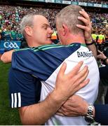 19 August 2018; Galway manager Micheál Donoghue, left, congratulates Limerick manager John Kiely following the GAA Hurling All-Ireland Senior Championship Final match between Galway and Limerick at Croke Park in Dublin. Photo by Seb Daly/Sportsfile