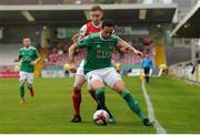 18 August 2018; Damien Delaney of Cork City in action against Ian Bermingham of St Partrick's Athletic during the SSE Airtricity League Premier Division match between Cork City and St Patrick's Athletic at Turner's Cross in Cork. Photo by John O'Brien/Sportsfile