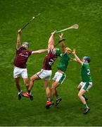 19 August 2018; Conor Cooney, left, and Niall Burke of Galway in action against Dan Morrissey, left, and Richie McCarthy of Limerick during the GAA Hurling All-Ireland Senior Championship Final match between Galway and Limerick at Croke Park in Dublin. Photo by Daire Brennan/Sportsfile