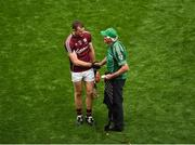 19 August 2018; A dejected Jonathan Glynn of Galway shakes hands with a Limerick supporter after the GAA Hurling All-Ireland Senior Championship Final match between Galway and Limerick at Croke Park in Dublin. Photo by Daire Brennan/Sportsfile
