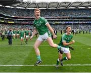 19 August 2018; Cian Lynch, left, and Pat Ryan of Limerick celebrate following the GAA Hurling All-Ireland Senior Championship Final match between Galway and Limerick at Croke Park in Dublin.  Photo by Seb Daly/Sportsfile