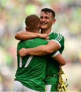 19 August 2018; Tom Morrissey celebrates with team mate Peter Casey of Limerick following the GAA Hurling All-Ireland Senior Championship Final match between Galway and Limerick at Croke Park in Dublin.  Photo by Eóin Noonan/Sportsfile