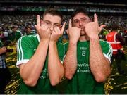 19 August 2018; Barry Murphy, left, and Darragh O'Donovan of Limerick celebrate following the GAA Hurling All-Ireland Senior Championship Final between Galway and Limerick at Croke Park in Dublin. Photo by Stephen McCarthy/Sportsfile