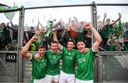 19 August 2018; Limerick players, from left, Colin Ryan, Barry O'Connell, Gearóid Hegarty and Diarmaid Byrnes celebrate following the GAA Hurling All-Ireland Senior Championship Final between Galway and Limerick at Croke Park in Dublin. Photo by Stephen McCarthy/Sportsfile