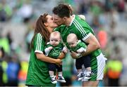 19 August 2018; Séamus Hickey of Limerick celebrates with his wife Ellen and sons Matthew and Patrick after the GAA Hurling All-Ireland Senior Championship Final match between Galway and Limerick at Croke Park in Dublin.  Photo by Brendan Moran/Sportsfile