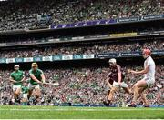 19 August 2018; Tom Morrissey of Limerick shoots to score his side's second goal past James Skehill of Galway during the GAA Hurling All-Ireland Senior Championship Final match between Galway and Limerick at Croke Park in Dublin.  Photo by Seb Daly/Sportsfile